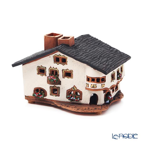 北欧リトアニア製陶器 ミデーネ MIDENE アロマ/キャンドル ミニチュアハウス 煙突&香台付 オーストリア セイントウォルフガングの家 7cm LEDキャンドル付 A237AR
