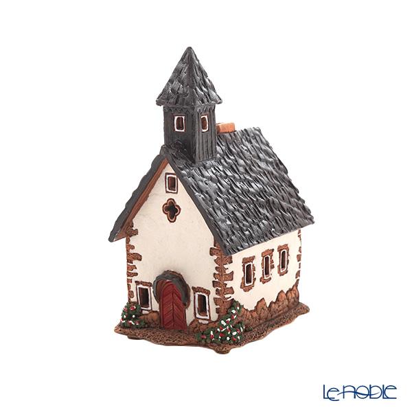 北欧リトアニア製陶器 ミデン MIDENE アロマ/キャンドルハウス ミニチュアハウス 煙突&香台付 イタリア 南チロルのチャペル LEDキャンドル付 A238N