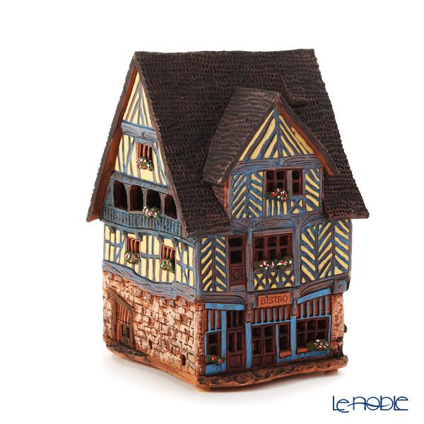 北欧リトアニア製陶器 ミデーネ MIDENE アロマ/キャンドルハウス ミニチュアハウス 煙突&香台付 フランス レンヌの家 LEDキャンドル付 C306AR
