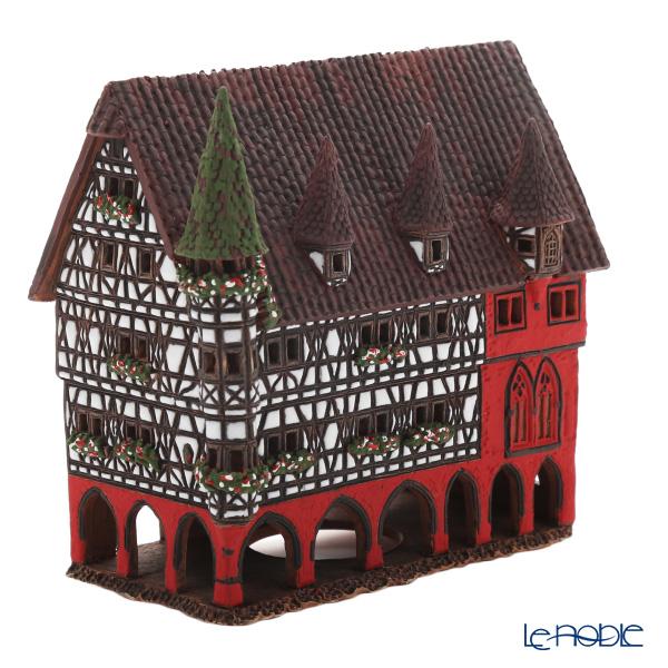 北欧リトアニア製陶器 ミデン MIDENE アロマ/キャンドルハウス ミニチュアハウス 煙突&香台付 ドイツ フルダの市役所 LEDキャンドル付 C330AR