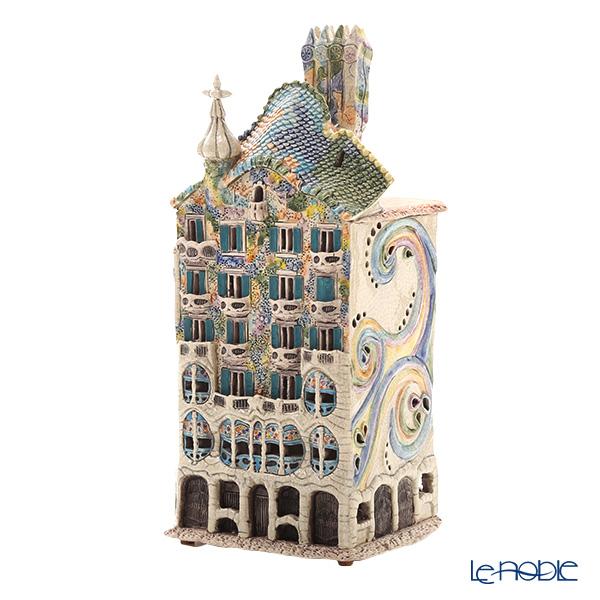 北欧リトアニア製陶器 ミデーネ MIDENE キャンドルハウス ミニチュアハウス 香台付 スペイン バルセロナのカサ・バトリョ LEDキャンドル付 E250N