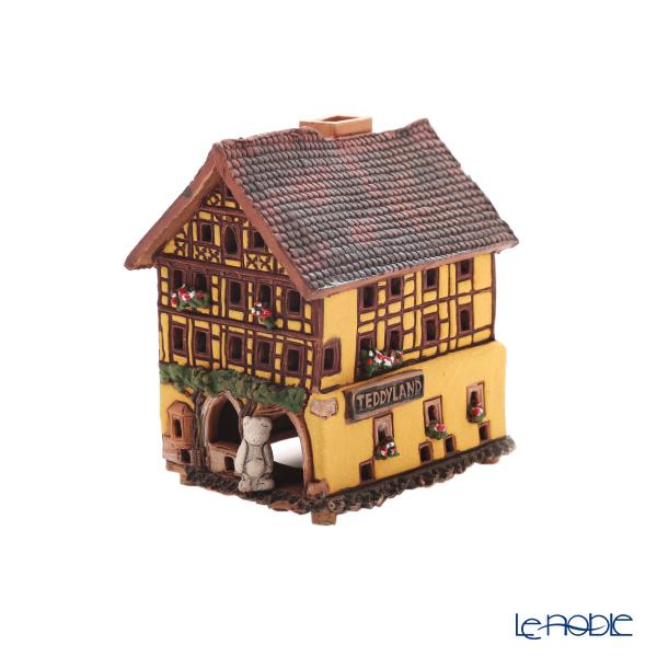 北欧リトアニア製陶器 ミデン MIDENE アロマ/キャンドルハウス ミニチュアハウス 煙突&香台付 ドイツ ローテンブルクのテディランド LEDキャンドル付 A292AR