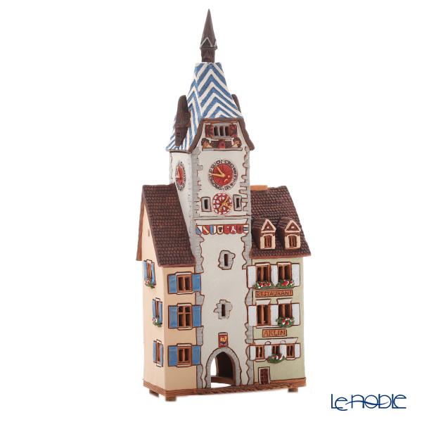 北欧リトアニア製陶器 ミデン MIDENE アロマ/キャンドルハウス ミニチュアハウス 煙突&香台付 スイス ツークのジターム時計塔 LEDキャンドル付 D391AR