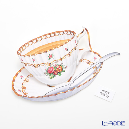 3D birthday cards Courtier Inc. Cloutier afternoon tea Fluted rose COEC3204
