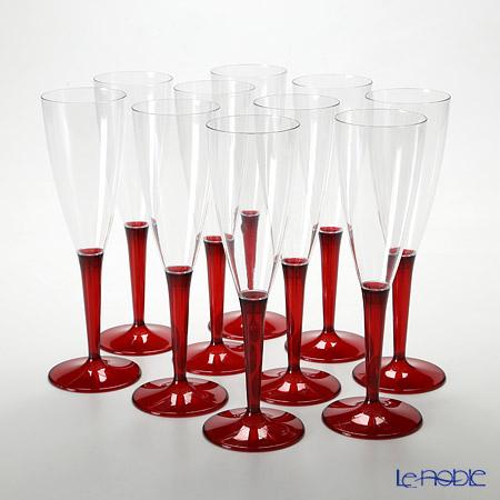 モザイク MZCFRE シャンパンフルート 125ml レッドステム 10ピースセット