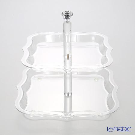 SCHoN Plus 'DIMS017' Clear 2 Tier Dessert Cake Stand H26cm
