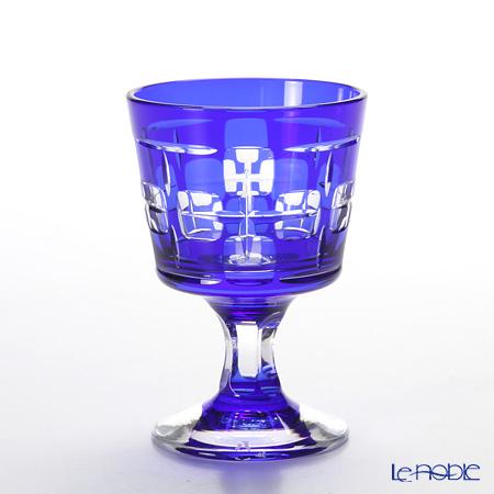八千代切子 LS29801SULM-C591 冷酒盃 四方契(しほうちぎり) 瑠璃 97ml 【木箱入】
