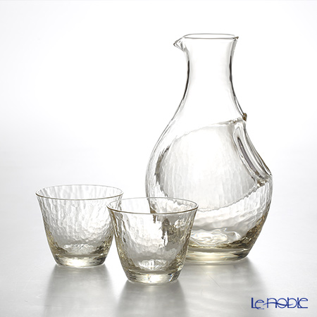 Toyo-Sasaki Glass Co. G604-M72 Takase River amber sake set (gold) 300mlx1 carafe & glass 80mlx2