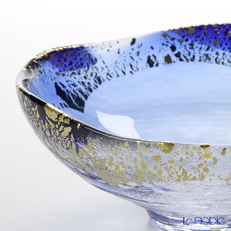 Toyo Sasaki Glass 'Kin Paku - Aoha' Blue & Gold foil Bowl 14cm
