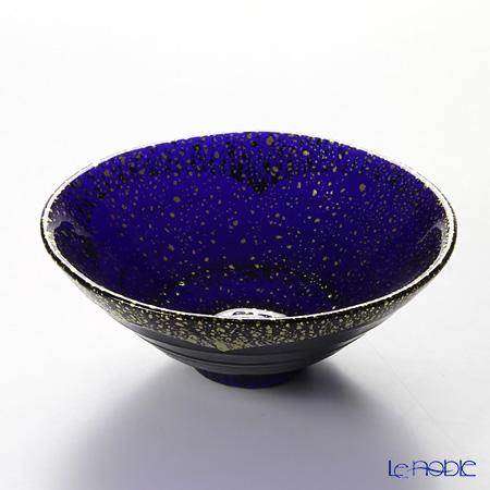 Toyo Sasaki Glass 'Kin Paku - Kon Peki' Dark Blue & Gold foil Bowl 15cm