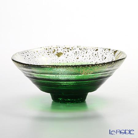 Toyo Sasaki Glass 'Kin Paku' Dark Green & Gold foil Bowl 15cm 43230G-WHDG 东洋佐佐木玻璃 '金箔小碗' 金绿色 平形碗