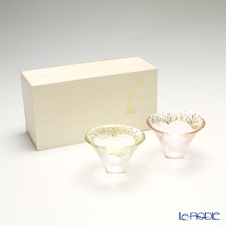 Toyo Sasaki Glass 'Sho Fuku Hai (Mt. Fuji)' Clear / Pink & Gold foil Cold Sake Cup 65ml (set of 2 colors with wooden box)