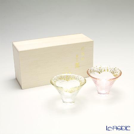 Toyo Sasaki Glass 'Sho Fuku Hai (Mt. Fuji)' Clear / Pink & Gold foil Cold Sake Cup 65ml (set of 2 colors with wooden box) G636-T73 东洋佐佐木玻璃 '招福杯 富士山' 透金・樱金色 冷酒杯 (2件套)【带木盒】
