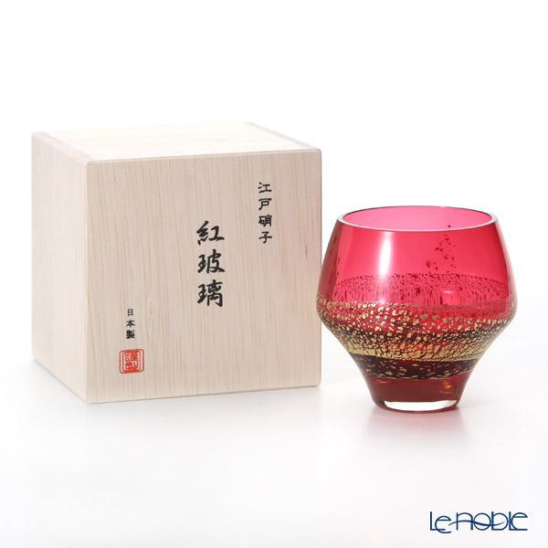 Toyo Sasaki Glass / Edo Glass 'Beni Hari' Red & Gold foil Rock Tumbler 265ml