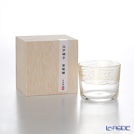 Toyo-Sasaki Glass Co. Edo Glass Golden-Leaf Glass Sake Cup 120 ml, sky 10891