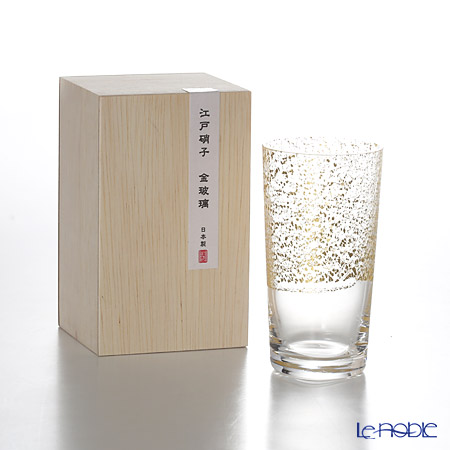 Toyo-Sasaki Glass Co. Edo Glass Golden-Leaf Glass Sake Cup/Tumbler 130 ml, sky 10893