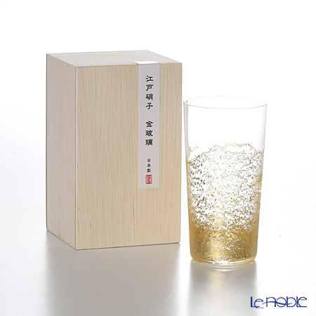 Toyo-Sasaki Glass Co. Edo Glass Golden-Leaf Glass Sake Cup/Tumbler 130 ml, earth 10894