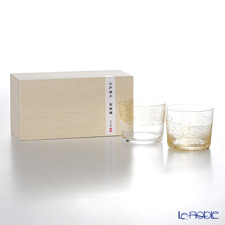Toyo Sasaki Glass / Edo Glass 'Kin Hari - Tenku & Daichi' Clear & Gold foil Sake Cup 120ml (Junmai set of 2) G641-T78 东洋佐佐木玻璃 / 江戸硝子 '金玻璃 天空 & 大地' 纯米冷酒杯 (2件套)