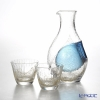 Toyo Sasaki Glass 'Reisyu' Blue & Gold foil Cold Sake Cup & Carafe with Ice Pocket (set of 3 for 2 persons) G640-M60 东洋佐佐木玻璃 '冷酒套装(金箔)' 玻璃水瓶,  杯 (2件套)