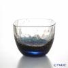Toyo Sasaki Glass 'Yachiyo Gama' Dark Blue & Gold foil Square Cold Sake Cup 65ml 10796 东洋佐佐木玻璃 / 江戸硝子 '八千代窑' 冷酒杯
