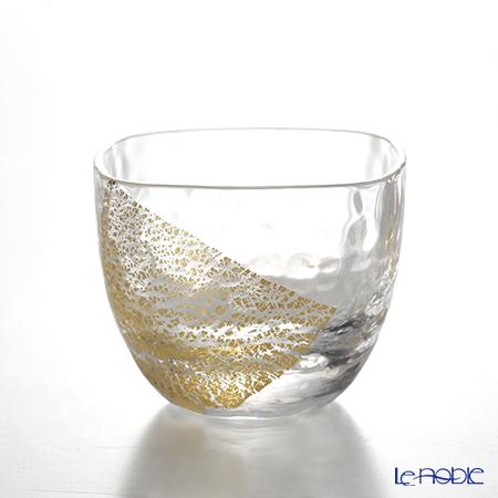 Toyo Sasaki Glass / Edo Glass 'Yachiyo Gama' Clear & Gold foil Square Cold Sake Cup 65ml 10797 东洋佐佐木玻璃 / 江戸硝子 '八千代窑' 冷酒杯