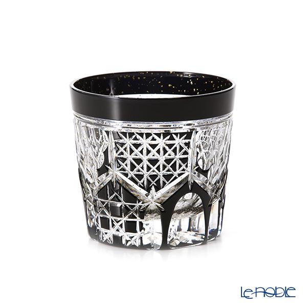 Toyo Sasaki Glass / Yachiyo Kiriko Flashed Glass 'Kikko gara (Hexagon)' Black & Gold foil Rock Glass 280ml (with wooden box)