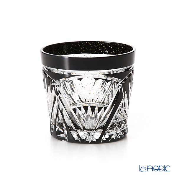 Toyo Sasaki Glass / Yachiyo Kiriko Flashed Glass 'Ougi gara (Fan)' Black & Gold foil Rock Glass 280ml (with wooden box)