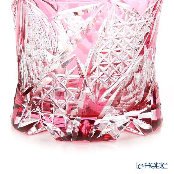 Toyo Sasaki Glass / Yachiyo Kiriko Flashed Glass 'Kouka' Red Rock Glass 270ml (with wooden box)