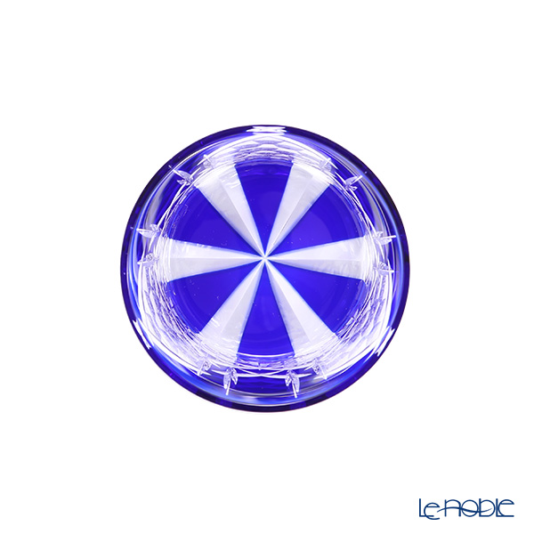 Toyo Sasaki Glass / Yachiyo Kiriko Flashed Glass 'Gekka' Blue Rock Glass 270ml (with wooden box)