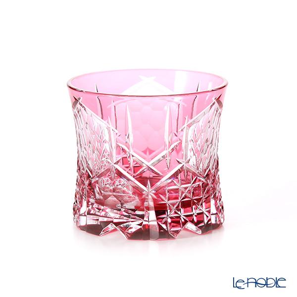 Toyo Sasaki Glass / Yachiyo Kiriko Flashed Glass 'Gekka' Red Rock Glass 270ml (with wooden box)