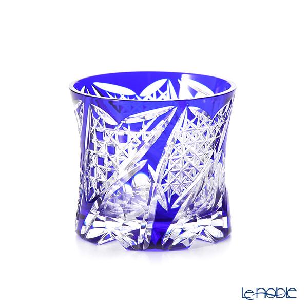 Toyo Sasaki Glass / Yachiyo Kiriko Flashed Glass 'Kouka' Blue Rock Glass 270ml (with wooden box)