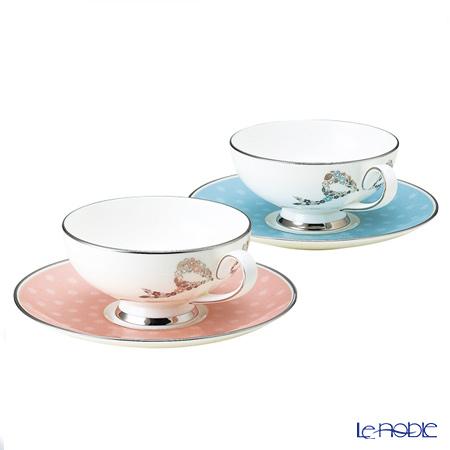 ナルミ フェリシータ! ティー碗皿ペア ブルー&ピンク 95586-21047