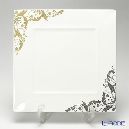 Narumi 'Pro Style' Gold & Platinum 50932-5353 Square Rim Plate 27.5x27.5cm
