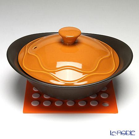 ナルミ ふた付クックボウル(オレンジ) シリコン製鍋敷き付 41115-33021 800cc 【直火・オーブン・レンジ用】