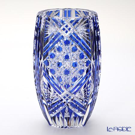 カガミクリスタル 花瓶 F673-1845CCB 笹っ葉に八角籠目紋