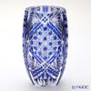 カガミクリスタル 花瓶F673-1845CCB 笹っ葉に八角籠目紋