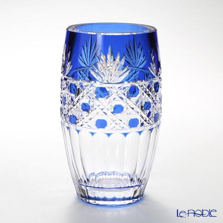 カガミクリスタル 花瓶 F684-1972CCB 笹っ葉に八角籠目紋