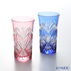 Kagami Crystal / Kiriko Flashed Glass 'Sasa-no-ha ni Hoshi / Star' Red & Blue Tumbler 120ml (set of 2 color)