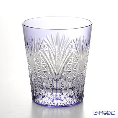 Kagami Crystal / Edo Kiriko Flashed Glass 'Sasa-no-ha ni Asa-no-ha' Purple T557-2472-CMP OF Tumbler 230ml