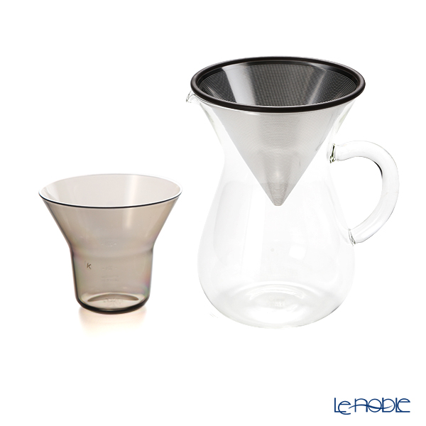 KINTO 'Slow Coffee Style' [Heat-registant Glass] Coffee Carafe, Stainless Steel Filter, Filter Holder (set of 3)