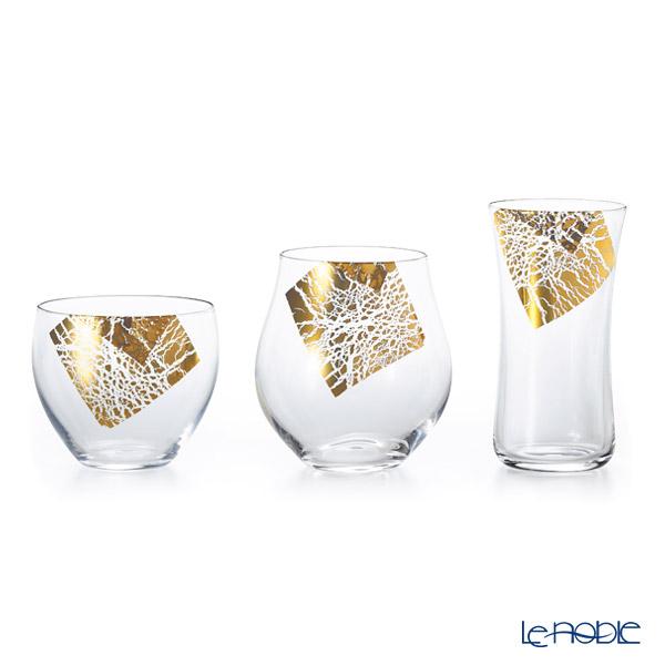 Ishizuka Glass 'Kirari' Gold foil S-6312  Sake Glass (set of 3 shape with wooden box)