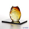 Tsugaru Vidro Glass Fukurou Owl with wooden base, amber / gold F-62124