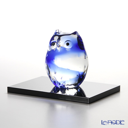 Tsugaru Vidro 'Owl' Blue Animal Figurine (S / with wooden stand) H9.5cm F-62125 津轻玻璃 小猫头鹰 蓝色 摆件 带木质台座