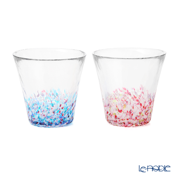 津軽びいどろ にほんの色 舞う桜と春の空 グラスペア (ふうけい)260ml FS-62505