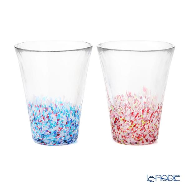 Tsugaru Vidro 'Cherry Blossoms & Spring Sky' Pink Blue FS-62506 Tumbler 305ml (set of 2 colors)