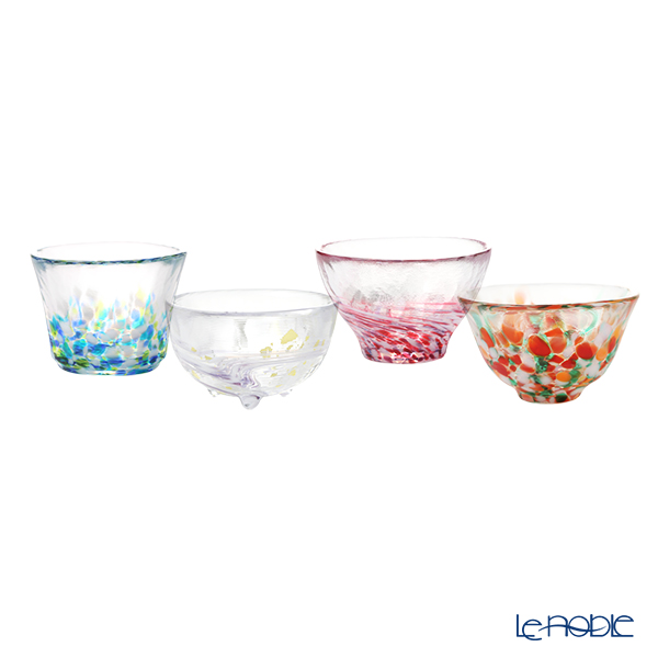 Tsugaru Vidro 'Siki / Four Seasons' Pink Blue Orange White FS-71545 Sake Cup (set of 4 shapes with wooden box)