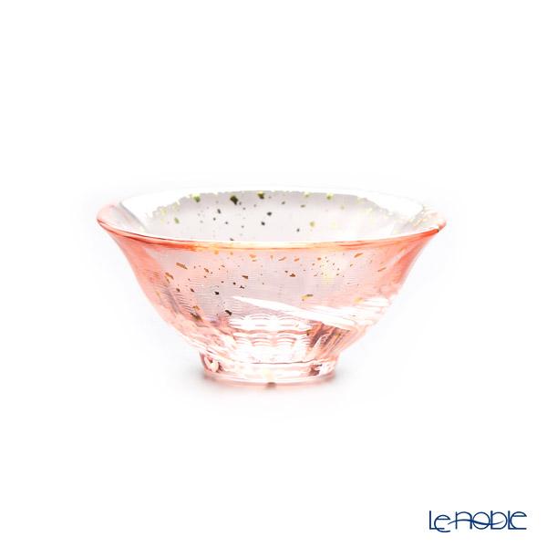 Tsugaru Vidro 'Sayaka - Hana Gasumi' Pink & Gold foil F-71847 Mini Cup (with wooden box)
