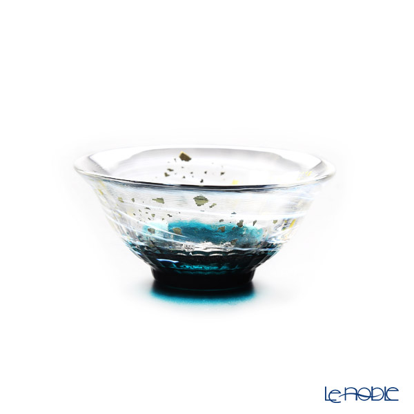 Tsugaru Vidro 'Sayaka - Syoka' Dark Blue & Gold foil F-71848 Mini Cup (with wooden box)