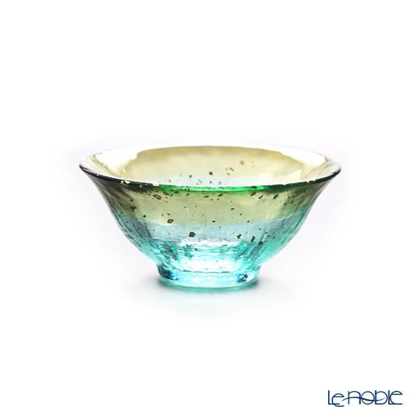 Tsugaru Vidro 'Sayaka - Tsuki Akari' Green Gold F-71850 Mini Cup (with wooden box)