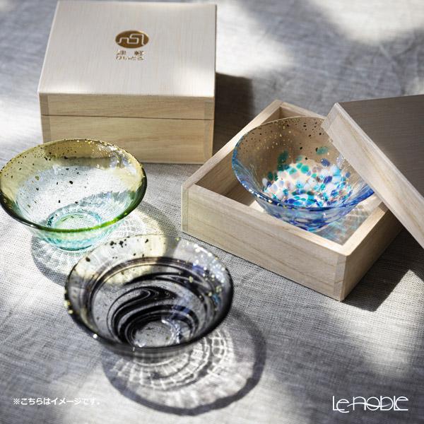 Tsugaru Vidro 'Sayaka - Hoshiyo' Black & Gold foil F-71851 Mini Cup (with wooden box)